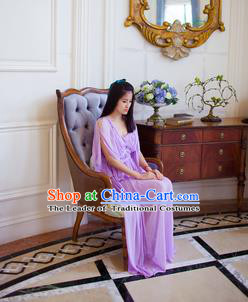 Traditional Classic Women Clothing, Traditional Classic Purple Chiffon Evening Dress Restoring Woolen Garment Skirt Braces Skirt, Long Chiffon Skirt