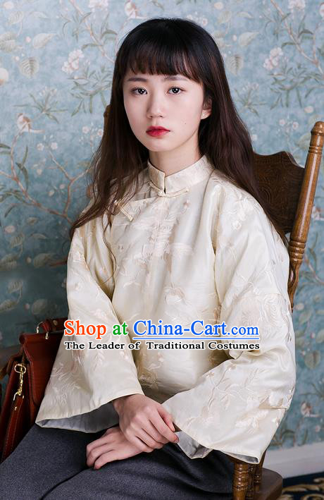 Traditional Classic Women Clothing, Traditional Classic Chinese Tess Embroidery Chinese Qing Dynasty Plate Buttons Slant Opening Thin Cotton-Padded Clothes