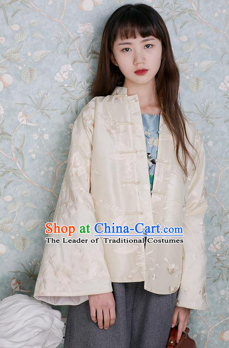 Traditional Classic Women Clothing, Traditional Classic Chinese Tess Embroidery Chinese Qing Dynasty Plate Buttons Front Opening Thin Cotton-Padded Clothes