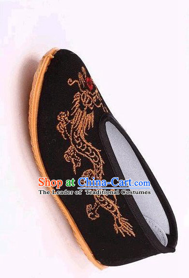 Chinese Traditional Shoes for Children Qing Dynasty Taoist Traditional Beijing Cloth Shoes