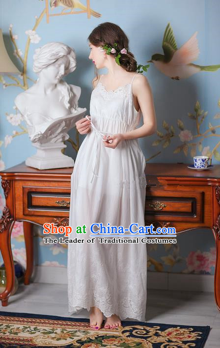 Traditional Classic Women Clothing, Traditional Classic White Silk Pajamas Heavy Lace Embroidery Evening Dress Restoring Garment Skirt Braces Skirt