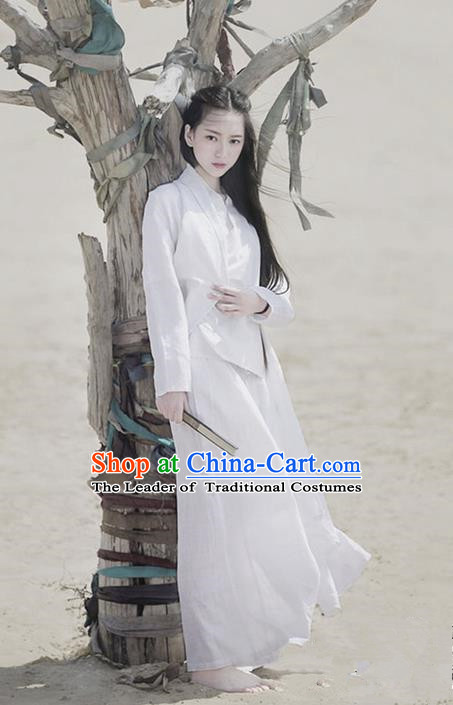 Traditional Classic Women Clothing, Traditional Chinese Classic Cotton Hanfu White Han Dynasty Blouse