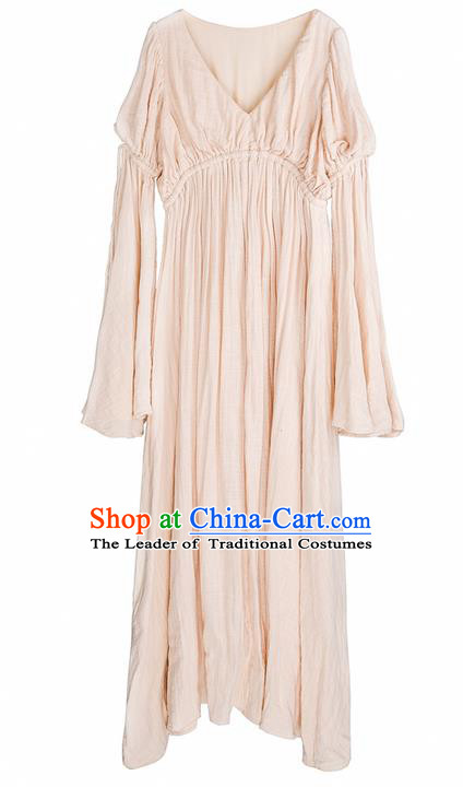 Traditional Classic Women Clothing, Traditional Classic Elegant Double Yarn Brought Palace Restoring Boat Neck Even Garment Skirt