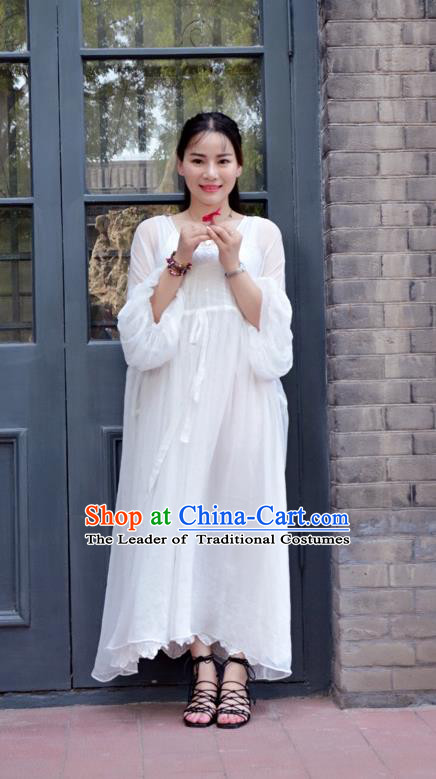 Traditional Classic Women Clothing, Traditional Classic White Chiffon Even Dress Restoring Garment Skirt Braces Skirt