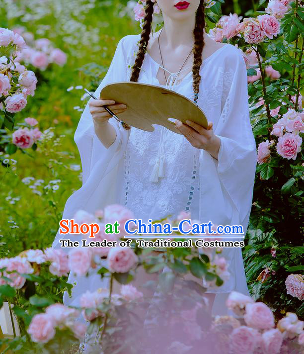 Traditional Classic Women Clothing, Traditional Classic White Silk Cotton Embroidered Cape Sharply Even Garment Skirt
