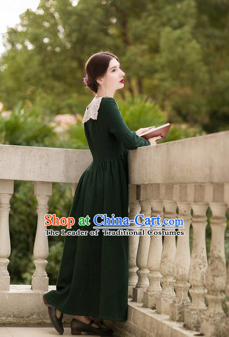 Traditional Classic Women Clothing, Traditional Classic European Manor Literary Yarn Embroidered Collar Dress, Palace Princess Restoring Long Skirt