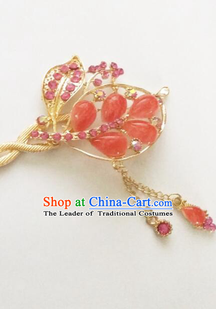 Hairpins Ancient Korean Style Women Hair Clasp Bride Head Wear Up Do Red