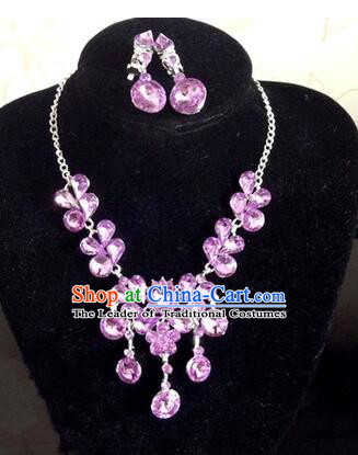 Ancient Style Accessories Necklace Chain Ear Wearing Set Wedding Decorating Jing Hong WU Empresses in the Palace Purple