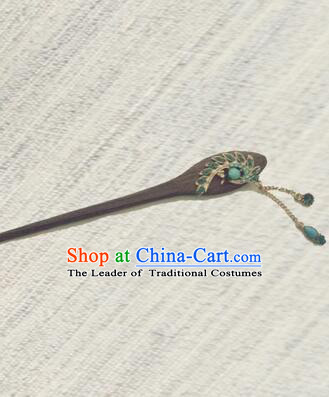 Classic Wooden Hairpins Metal Decorating Bu Yao Han Fu Access Colorful Peacock