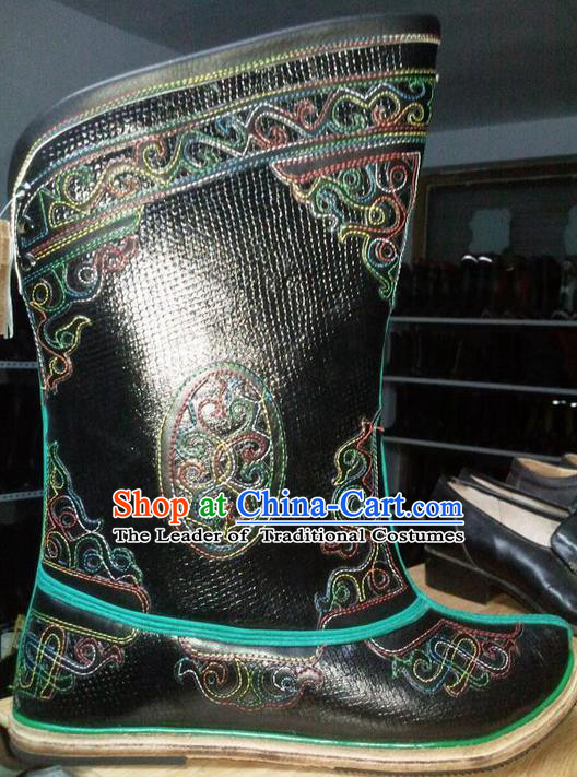 Traditional Chinese Minority Mongol Nationality Ethnic Minorities Mongolian Dance Cowhide Boots, Mongolian Gourd Peel Bottom Knee Boots Handmade Jockey Boots Tanks Boots for Men