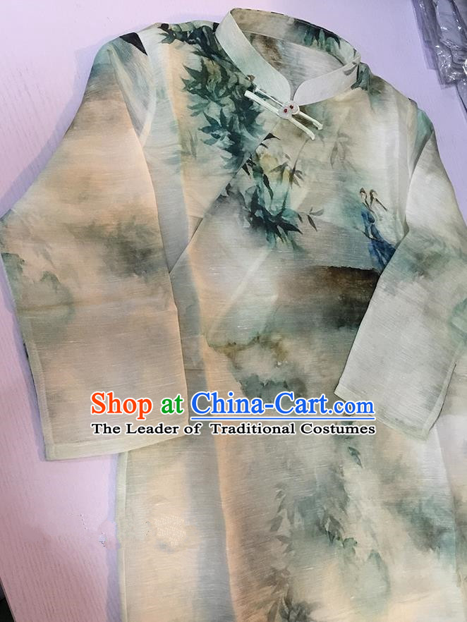 Traditional Classic Women Costumes, Traditional Classic Silk Linen Chinese Ink Painting Style Jade Buckle Cheongsam, Traditinal China Qipao