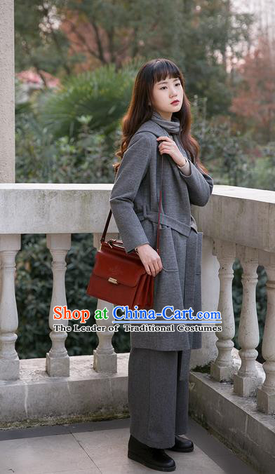 Traditional Classic Women Clothing, Traditional Classic Woolen Long Coat Gray High Quality Leisure Jacket