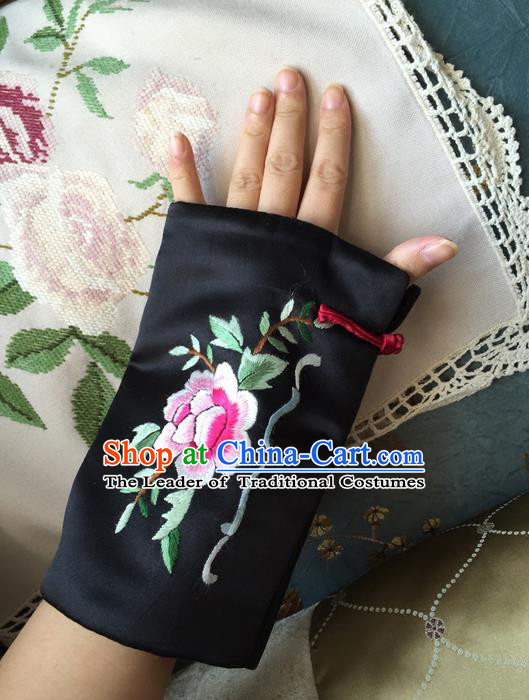 Traditional Classic Women Clothing, Traditional Classic Chinese Silk Cotton Embroidery Cuff Handmade Embroidery Sleevelet