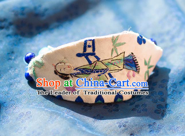 Traditional Classic Women Accessories, Traditional Classic Chinese Embroidery Bracelets, Hand Wrist Accessories, Silver Bracelet for Women