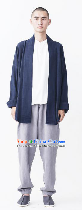Traditional Chinese Linen Tang Suit Overcoat, Chinese Ancient Costumes, Improvement Hanfu Flax Male Cotton Long Sleeve Buddhist Youth Coat