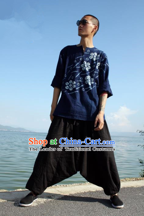 Traditional Chinese Linen Tang Suit Trousers, Chinese Ancient Costumes, Flax Nepal Big Fork Kuadang Pants Crotch Trousers Yoga Pants