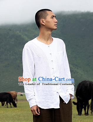 Traditional Chinese Linen Tang Suit Men Long Sleeve Shirts, Chinese Ancient Costumes Linen Dress Shirt for Men