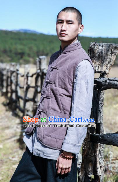 Traditional Chinese Linen Tang Suit Men Cotton-Padded Jacket, Chinese Ancient Costumes Tang Suit Vest for Men