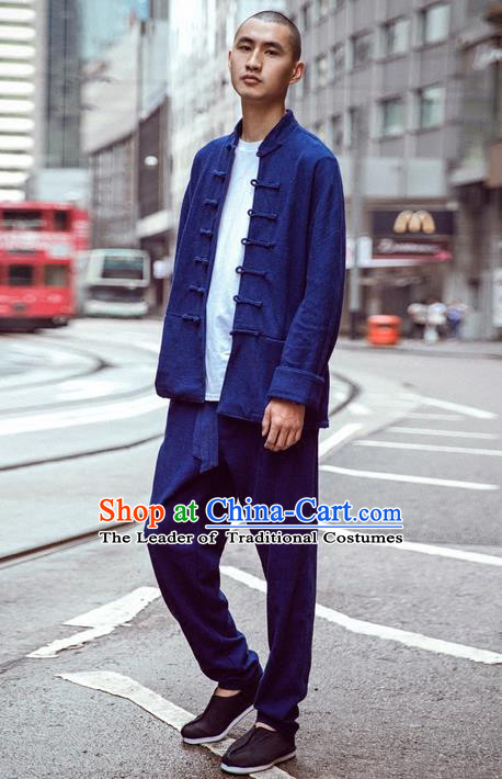 Traditional Chinese Linen Tang Suit Men Long Sleeve Overcoat, Chinese Ancient Costumes Linen Short Coat for Men
