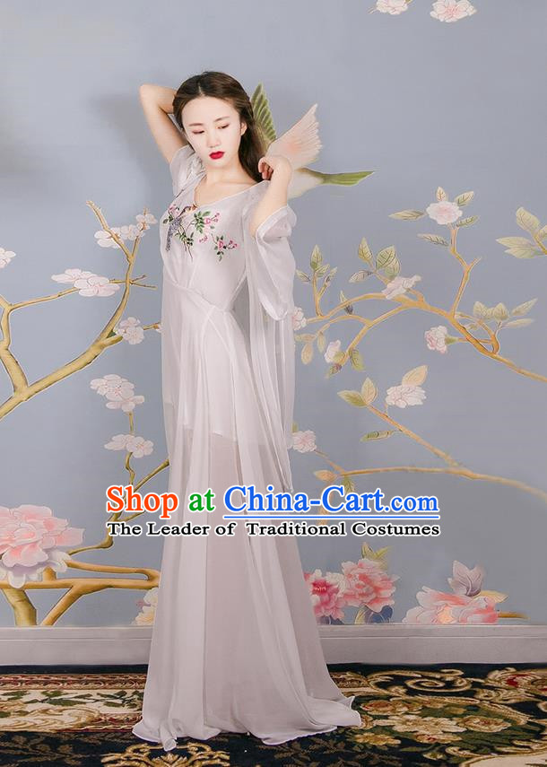 Traditional Classic Women Clothing, Traditional Classic Chinese Chiffon Delicate Embroidery Dress, Long Skirt for Women