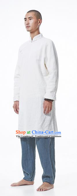 Traditional Chinese Linen Tang Suit Men Costumes Coats, Chinese Ancient Linen Slant Opening Plate Buttons Dust Coat Linen Frock for Men