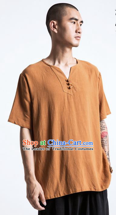 Traditional Chinese Linen Tang Suit Men Costumes, Chinese Ancient Silk Floss Short Sleeved T-Shirt Coconut Buttons Costume for Men
