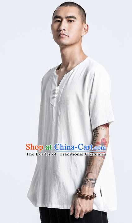 Traditional Chinese Linen Tang Suit Men Costumes, Chinese Ancient Silk Floss Short Sleeved T-Shirt Costume for Men