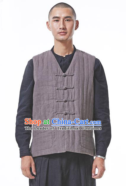 Traditional Chinese Linen Tang Suit Men Costumes Vest, Chinese Ancient Thicken Cotton Vest, Hanfu Vest for Men