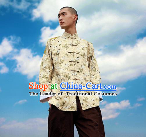 Traditional Chinese Linen Tang Suit Men Costumes Coat, Chinese Ancient Double Lined Clothes Hot Stamping Cotton Linen Jacket for Men