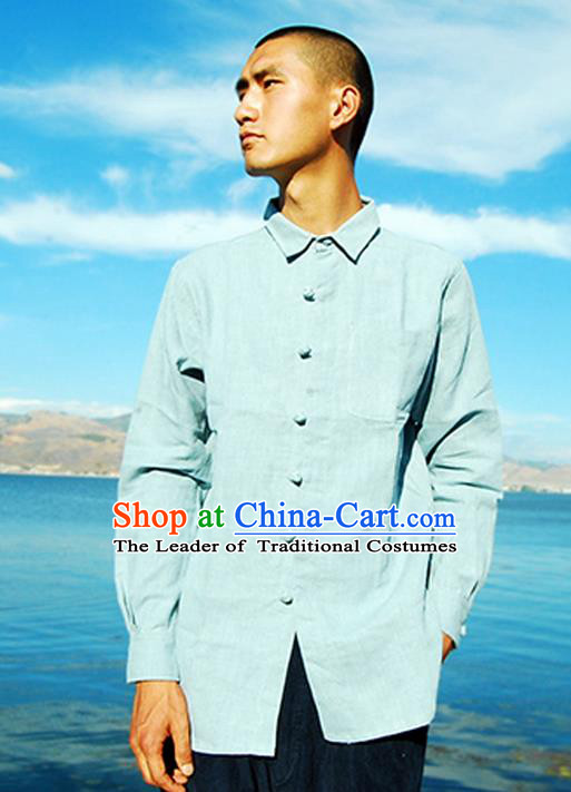 Traditional Chinese Linen Tang Suit Men Costumes Blouse, Chinese Ancient Tunic Suit Twist buttons Long Sleeved Shirt for Men