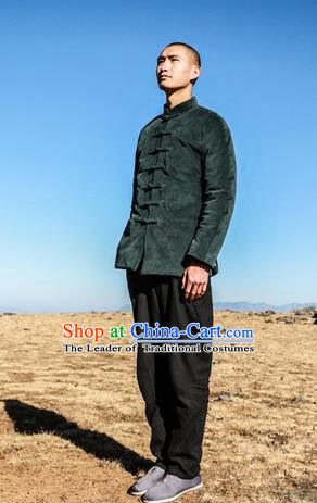 Traditional Chinese Corduroy Tang Suit Men Costumes, Chinese Ancient Thicken Cotton-Padded Jacket, Front Opening Brass Plate Buttons Wadded Robe for Men