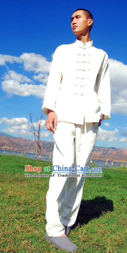 Traditional Chinese Linen Tang Suit Men Costumes, Hanfu Men Suits, Chinese Ancient Front Opening Brass Buttons Long Sleeved Shirt and Pants Costume for Men