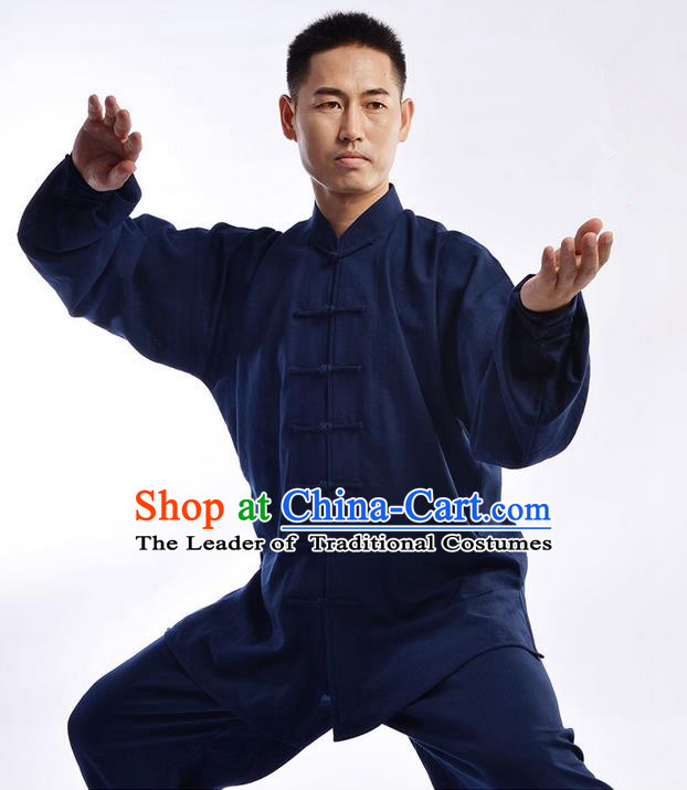 Traditional Chinese Top Signature Cotton Kung Fu Costume Martial Arts Kung Fu Training Uniform Gongfu Shaolin Wushu Clothing Tai Chi Taiji Teacher Suits Uniforms for Men