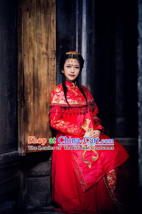 d49457631 Traditional Chinese Costume Chinese Ancient Wedding Dress, Han Dynasty Bride  Dragon and Phoenix Costume Complete Set for Women
