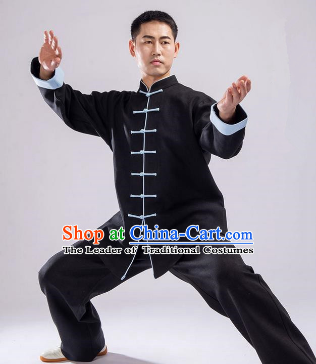 Traditional Chinese Thicken Double Linen Velvet Kung Fu Costume Martial Arts Kung Fu Training Uniform Tang Suit Gongfu Shaolin Wushu Clothing Tai Chi Taiji Teacher Suits Uniforms for Men