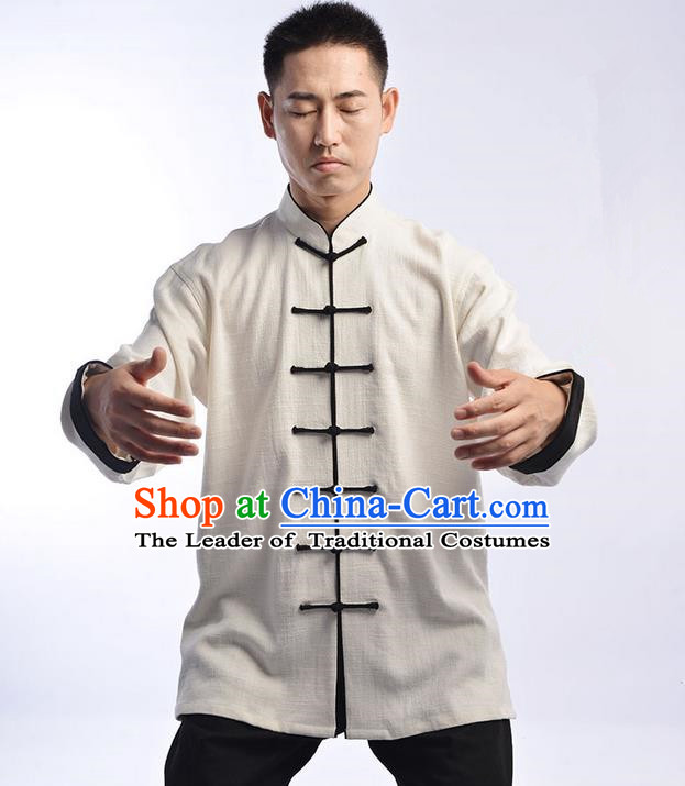 Traditional Chinese Thicken Linen Kung Fu Costume Martial Arts Kung Fu Training Uniform Tang Suit Gongfu Shaolin Wushu Clothing Tai Chi Taiji Teacher Suits Uniforms for Men