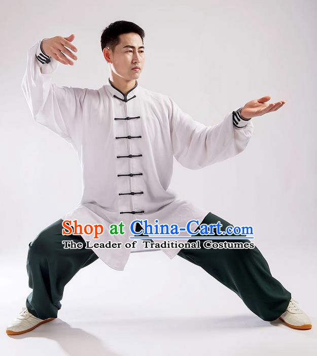 Traditional Chinese Linen Kung Fu Costume Martial Arts Kung Fu Training Uniform Tang Suit Gongfu Shaolin Wushu Clothing Tai Chi Taiji Teacher Suits Uniforms for Men