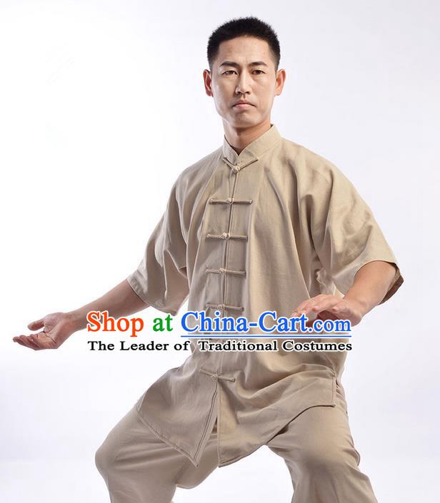Traditional Chinese Linen Kung Fu Short Sleeve Costume Martial Arts Kung Fu Training Uniform Tang Suit Gongfu Shaolin Wushu Clothing Tai Chi Taiji Teacher Suits Uniforms for Men