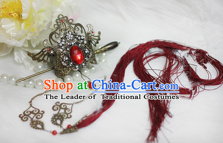 Chinese Ancient Cosplay Hair Accessories, Chinese Traditional Royal Prince Hair Tuinga, Ancient Chinese Cosplay Swordsman Knight Hairpin for Men