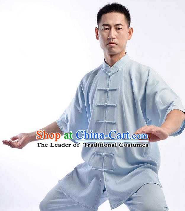 Traditional Chinese Short Sleeve Linen Kung Fu Costume Martial Arts Kung Fu Training Uniform Tang Suit Gongfu Shaolin Wushu Clothing Tai Chi Taiji Teacher Suits Uniforms for Men