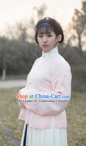 Traditional Chinese Ming Dynasty Young Lady Embroidered Costume Pink Cotton-Padded Jacket, Asian China Ancient Hanfu Blouse for Women