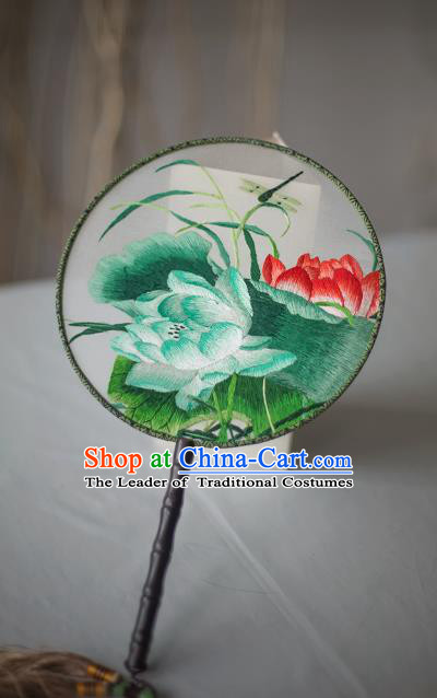 Traditional Chinese Palace Lady Accessories Hanfu Embroidered Lotus Circular Fans, Asian China Ancient Round Fan for Women