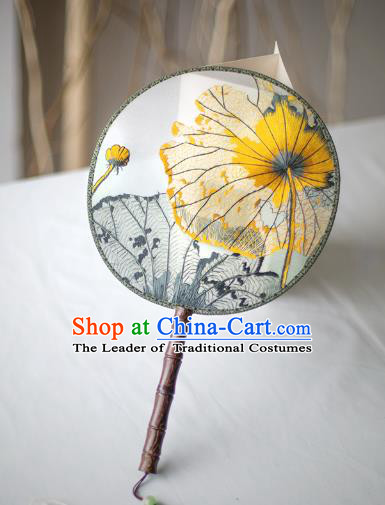 Traditional Chinese Palace Lady Accessories Hanfu Embroidered Flowers Fans, Asian China Ancient Round Fan for Women