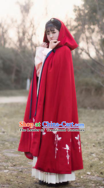 Traditional Chinese Ming Dynasty Young Lady Embroidered Butterfly Costume Red Cloak, Asian China Ancient Hanfu Long Mantle for Women