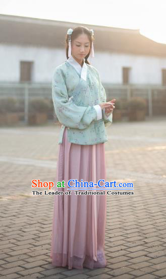 Traditional Chinese Ming Dynasty Young Lady Embroidered Costume Blouse and Skirt, Asian China Ancient Hanfu Clothing for Women