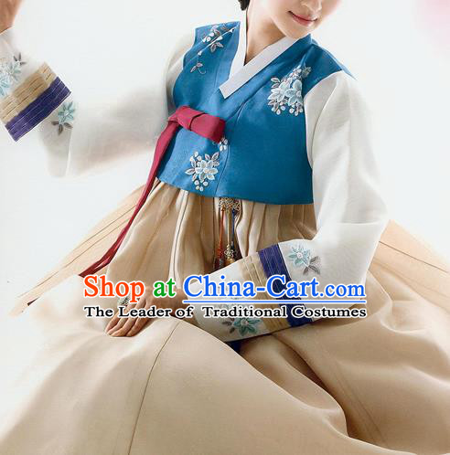 Traditional Korean Costumes Bride Wedding Deep Blue Blouse and Yellow Silk Dress, Korea Hanbok Princess Court Embroidered Clothing for Women