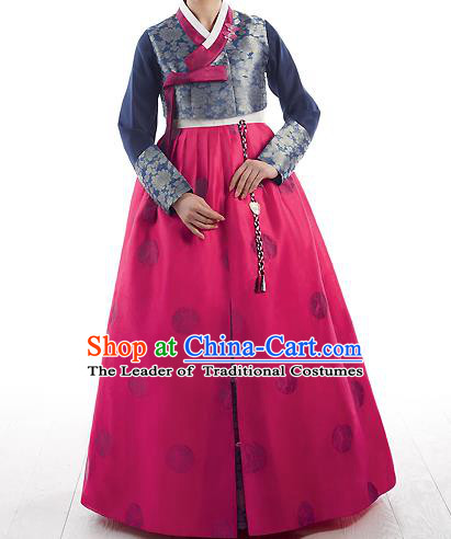 Traditional Korean Costumes Princess Navy Blouse and Pink Dress, Korea Hanbok Court Embroidered Clothing for Women