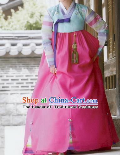 Traditional Korean Costumes Imperial Consort Wedding Blue Blouse and Pink Dress, Asian Korea Hanbok Court Bride Embroidered Clothing for Women