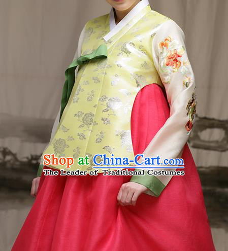 Traditional Korean Costumes Imperial Palace Lady Wedding Golden Blouse and Red Dress, Asian Korea Hanbok Court Bride Embroidered Clothing for Women
