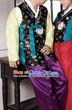 Traditional Korean Costumes Bridegroom Formal Attire Ceremonial Black Cloth, Asian Korea Hanbok Embroidered Clothing for Men